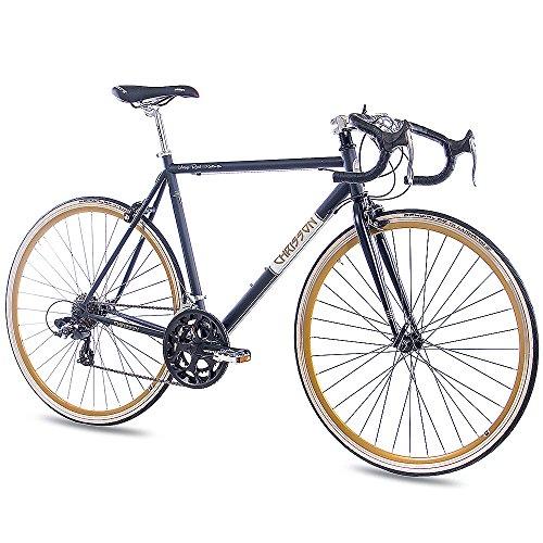 "CHRISSON 28\"" Zoll RENNRAD URBANRAD Fahrrad Vintage Road 1.0 mit 14G Shimano Retro Look schwarz matt (56)"