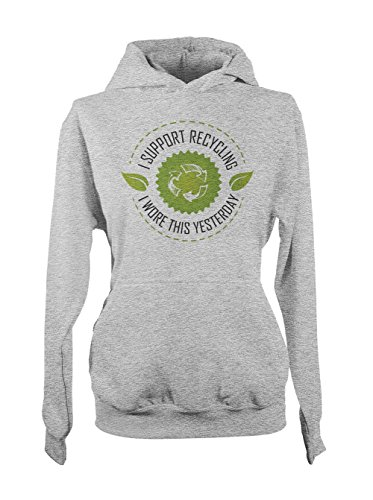 I Support Recycling Amusant Sarcastic Enviromental Femme Capuche Sweatshirt Gris