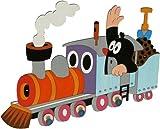 Garderobenhaken - der kleine Maulwurf mit Eisenbahn - Holz Kinder 3 Haken Kinderzimmer Garderobe Kleiderhaken Kindergarderobe