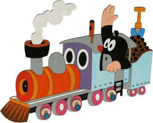Garderobenhaken - der kleine Maulwurf mit Eisenbahn - incl. Namenswunsch - Holz Kinder 3 Haken Kinderzimmer Garderobe Kleiderhaken Kindergarderobe