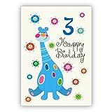 Toller Kinder Glückwunsch als Geburtstagskarte zum 3. Geburtstag mit Dinosaurier: Happy Birthday