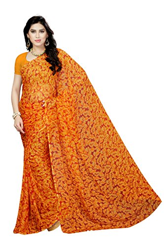 Rani Saahiba Chiffon Saree without Blouse Piece (SKR3482_Orange_One Size)