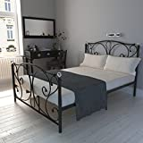 Double Bed Frame 4FT6 Metal Bed Frame with Crystal Finials and 2 Headboard Solid Bedstead Base for Kids Adults, Black