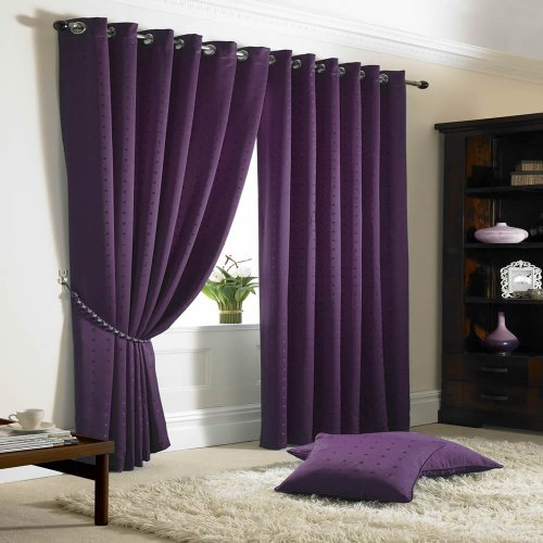Madison Lined Eyelet Ring Top Curtains Purple 66×54