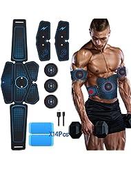 MiMiya Appareil Abdominal, ABS Trainer EMS Smart Ceinture USB de Charger Electrostimulateur Musculaire Fitness Entraînement Tonifier à Domicile Cuisse Ventre Bras Jambe