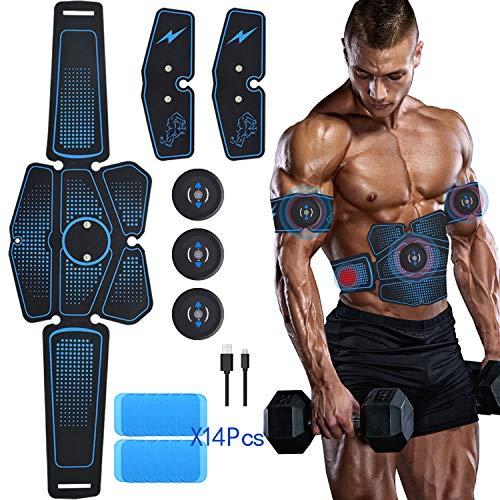 mimiya Elettrostimolatore per Addominali Elettrostimolatore Muscolare ABS Stimolatore Addome/Braccio/Gambe con USB Ricaricabile, 6 modalità e 9 Livelli di Intensità 14PCS Ricambio Gel Pezzi (7 Pacco)