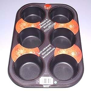 S.I.F - Moule 6 Muffins 7 cm Métal Anti-Adhésif noir *