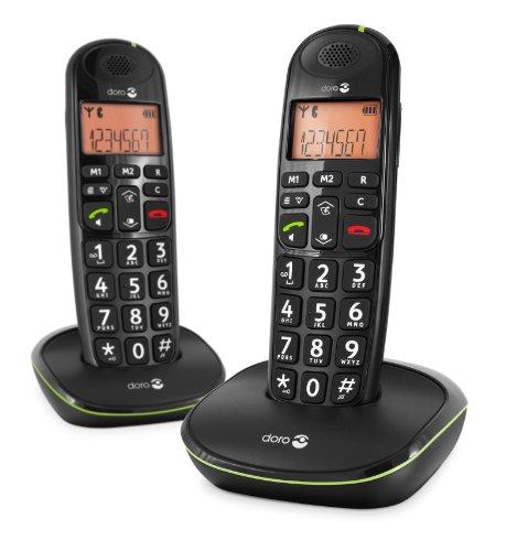 Doro PhoneEasy 100w duo - Teléfono fijo digital (inalámbrico), color negro (importado)