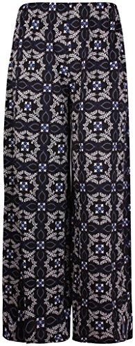 Damen plus Größe bedruckt Damen Elastischer Ausgestellte Palazzo Lange Hose Pants Gr. 48/50, königsblau Purple Flare-hose