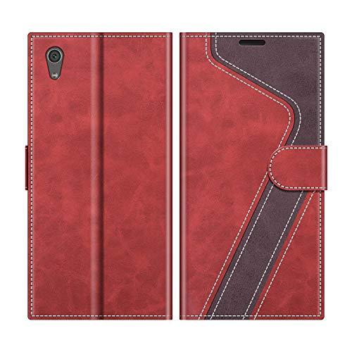 MOBESV Handyhülle für Sony Xperia XA1 Hülle Leder, Sony Xperia XA1 Klapphülle Handytasche Case für Sony Xperia XA1 Handy Hüllen, Modisch Rot