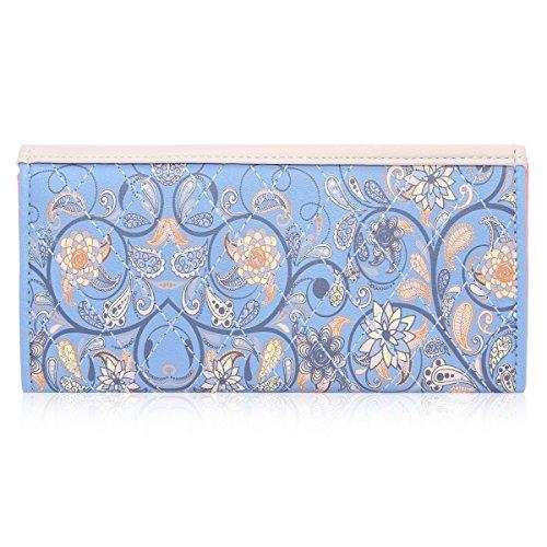 Damara Elegant Blume Muster Frisch Fashion Süß Elegant Damen Portemonnaie Geldbörse, Schwarz - 3