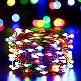 Qedertek Solar Kupferdraht Lichterkette, Weihnachten Lichterkette mit 100 LED Bunt 10m 8 Modi Wasserdicht Weihnachtsbeleuchtung für Außen Garten Party Hochzeit Weihnachten Deko