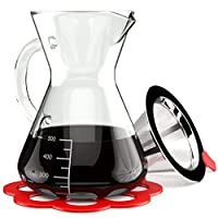 Artisan Pour Over Coffee Maker - Borosilicate Thermal Glass Carafe - Reusable Stainless Steel Mesh Cone Filter and Trivet Included - 500 ml Manual Drip Brewer with Handle