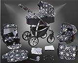 Milk Rock Baby Macano S Kinderwagen Safety-Winter-Set (Winterfußsack, Autositz & ISOFIX Basis, Regenschutz, Moskitonetz, Schwenkräder) MO67 Silver/Schwarz & Totenkopf