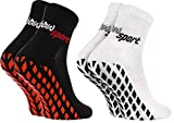 Rainbow Socks - Damen Herren Neon Sneaker Sport Stoppersocken - 2 Paar - Schwarz Weiß + Schwarz ABS...