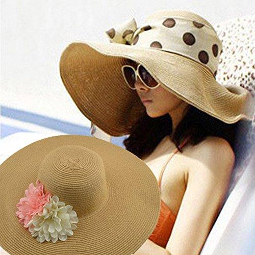 Surker Straw Hat Ladies Summer Beach Sun Hat chapeaux ¨¤ larges bords Rose