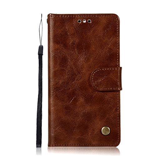 Chreey Huawei Y5 2017/Y6 2017 Hülle, Premium Handyhülle Tasche Leder Flip Case Brieftasche Etui Schutzhülle Ledertasche, Braun