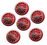 Kühlschrankmagnete Nostalgie Magnete für Magnettafel stark 6er Set mit Motiv Eisenbahn Dampflok Rad groß rund 50mm Rot
