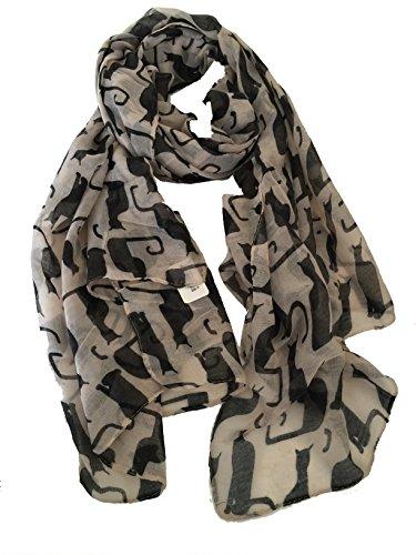 Bufanda beige con gatos silueta negro. -- Beige with black silhouette cats long scarf.