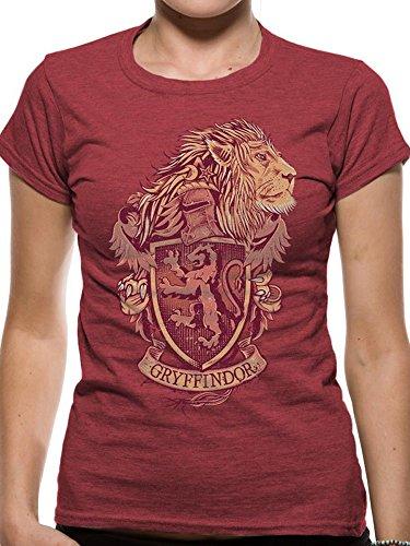 Harry Potter Gryffindor Crest Distressed Hogwarts Logo Red Womens T-shirt