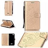 Ooboom® Wiko Fever 4G Hülle Prägen Schmetterling Blume Flip PU Leder Tasche Case Cover Brieftasche Magnetverschluss für Wiko Fever 4G - Gold