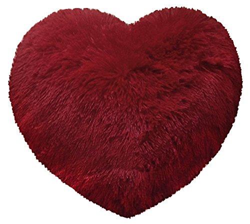 Lanuda Corazón Cojín aprox. 50cm x 50cm Corazón almohada sofá Manta Decoración Teddy flojel Peluche, poliéster, rojo, ca. 50cm