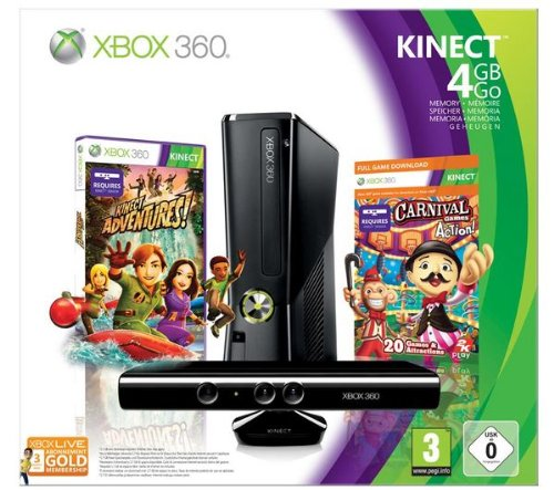 Spielkonsole Xbox 360 S - 4 GB + Kinect-Sensor + Spiel Carnival + Xbox Live Abo für 3 Monate + Drahtloses Gamepad Xbox 360 - schwarz + Power Bundle - Ladeset für Akku und Kabel Play & Charge [XBOX 360]