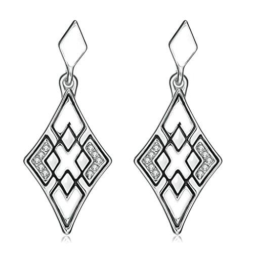 Gnzoe Gioielli 18K Placcato Argento Drop Orecchini Rhombus X Forma Opal Cristallo Eco Amichevole