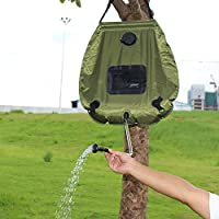 Escomdp Portátil 20L Solar Calentado Ducha Bolsa de agua Para Camping Excursionismo Y Otra Expedición al Aire Libre - Verde