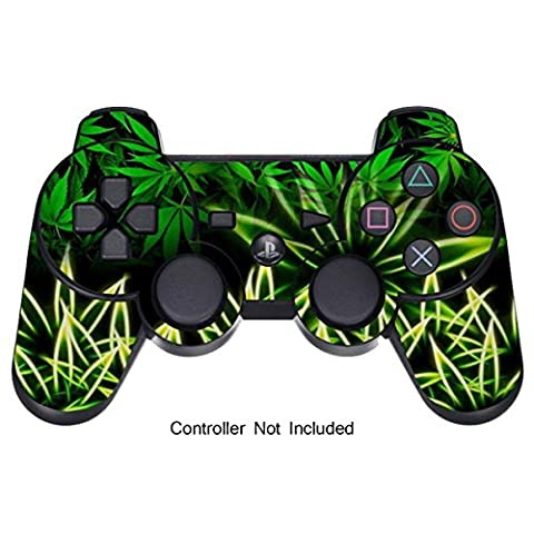 GameXcel ® Peau Sony PS3 Controller - Personnalisé Playstation 3 vinyle autocollant à distance - Play Station 3 Joystick Decal - Weeds Black [Controller Non