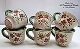 6 Tazzine da caffè Linea Fiori Rosa Bordo Verde Ceramica Handmade Le Ceramiche del Castello Made in Italy Dimensioni H 5,20 x L 8,30 cm. cadauna