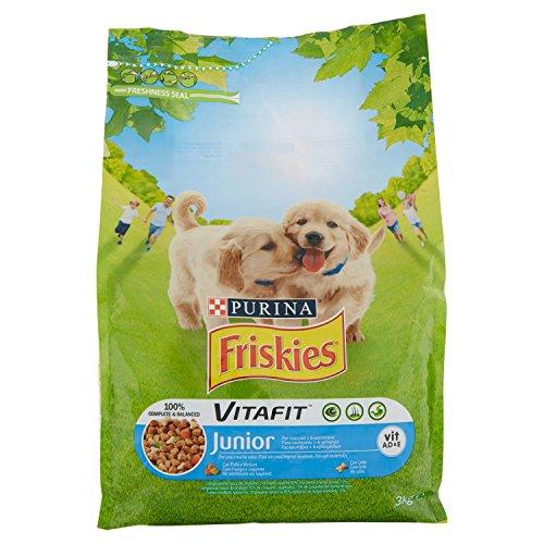 Friskies Vitafit Junior Crocchette per Il Cane, con Pollo e l'Aggiunta di Latte e Verdure, 3 kg