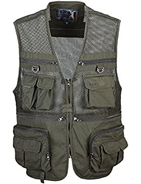 Zhhlinyuan Mens Lightweight Soft Practical Outdoor Photography Fishing Vest Waistcoat Multipocket