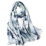 Seidenschal Damen 100% Seiden Satin Schal Elegante Seidentuch Hautfreundlich Anti-Allergie Halstuch 170 * 55cm (Graues Blau) MEHRWEG