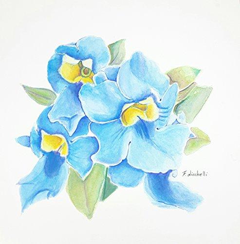 Acquerello, fiori azzurri, pezzo unico, 28x28cm./11x11 Inc., decoro parete, soggiorno,