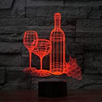 YKMY Lámpara de ilusión 3D Copa de Vino Botella Resumen Luz de Noche Led, USB