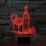 YKMY 3D Illusion Lampe Wein Tasse Flasche Zusammenfassung LED Nachtlicht, USB Powered 7 Farben Blinkt Berührungsschalter Schlafzimmer Dekoration Beleuchtung für Kinder Freunde Party