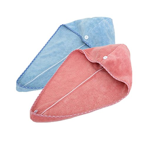 Happyit 2 PCS Hohe Qualität Feine Faser Weiche Kopf Handtuch Super Magie Absorbierende Haar Trocknen Hut für frauen Mädchen dame Bad Dusche (Himmelblau + Rosenrot) (2 Trockenanzug)