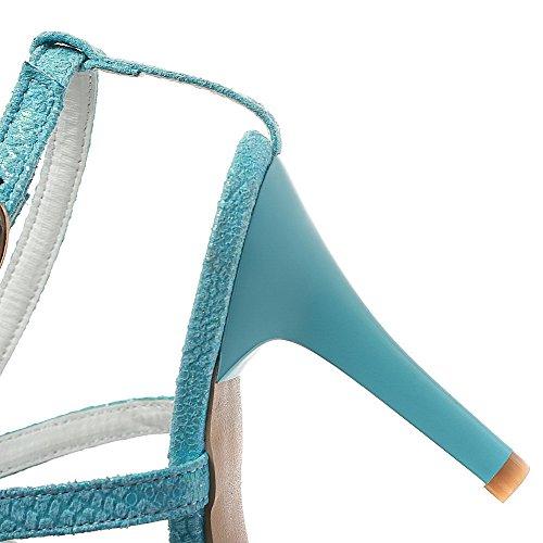 VogueZone009 Donna Fibbia Punta Aperta Tacco A Spillo Tessuto Lucido Puro Sandali Azzurro