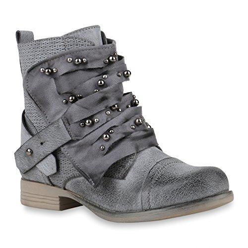 Damen Schuhe Stiefeletten Schnürstiefeletten Zierperlen Nieten Boots 155087 Creme Brito 37 Flandell