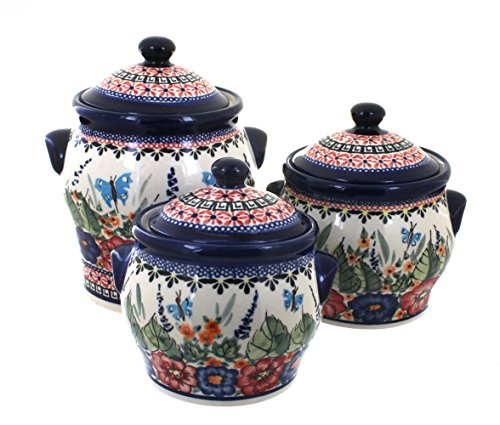 Polish Pottery Floral Butterfly Canister Set