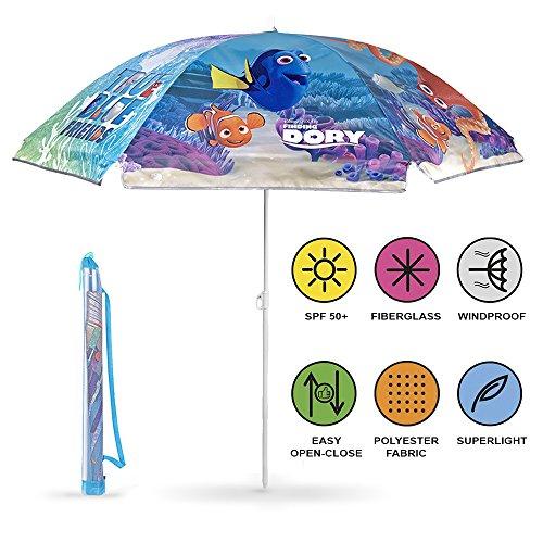 Perletti Parasol Enfants Disney Pixar Le Monde de Dory - Parasol de Plage, Patio, Jardin et Piscine de Finding Dory - Résistant au Vent - Hauteur réglable - Diamètre 125 cm - Bleu - Sunscreen UV 50+