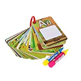 Reusable Water Coloring Cards 2 Magic Drawing Pens, Graffiti Doodle Board Cognitive Letters/ Number Color Shape Cards Alphabet Word Games Early Education Toy for Toddlers Kids Baby (Letters, 26pcs)