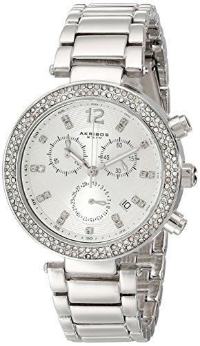 Akribos XXIV Femme Diamant et cristal avec Quartz Suisse montre chronographe