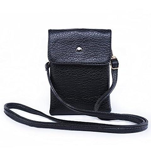 Hengying Sac bandoulière Petit cuir, Pochette, solide sac à bandoulière de couleur, Sac de Voyage, Caméra Sac avec poche