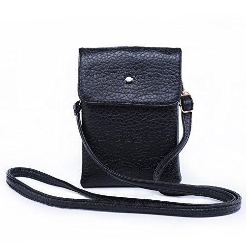 Hengying PU Leder Mini Handytasche Kleine Umhängetasche mit Vielen Fächern für Damen Mädchen Passt iPhone 7 Plus, Schwarz