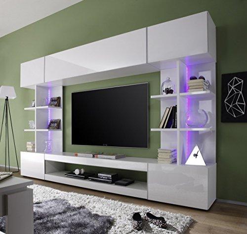 Dreams4Home Wohnkombination 'Oray', Schrank Vitrine TV-Schrank Wohnwand Wohnelement Wohnzimmer Regalwand Hochglanz weiß , Beleuchtung:2 er Set RGB + 3 er Set Unterbauspot LED - 2