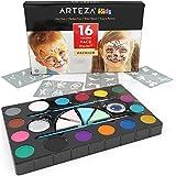 ARTEZA Colori per Pittura Viso, Set da 16 Pigmenti Non Tossici per Body Painting, Kit Completo Truccabimbi Non Tossico