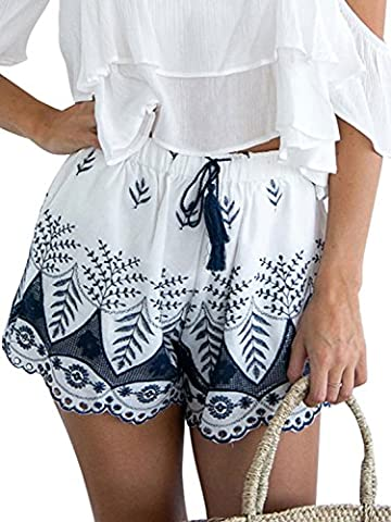 Simplee Apparel les femmes en coton brodé tassel cordon élastique boho pétoncle short bleu - plage.