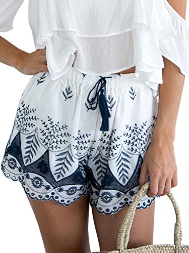 Simplee Apparel Damen Sommer Shorts High Waist Bmumen Stickerei Hot Pants Baumwolle Kurz Hose mit Quasten-Tunnelzug Beach Shorts Weiß